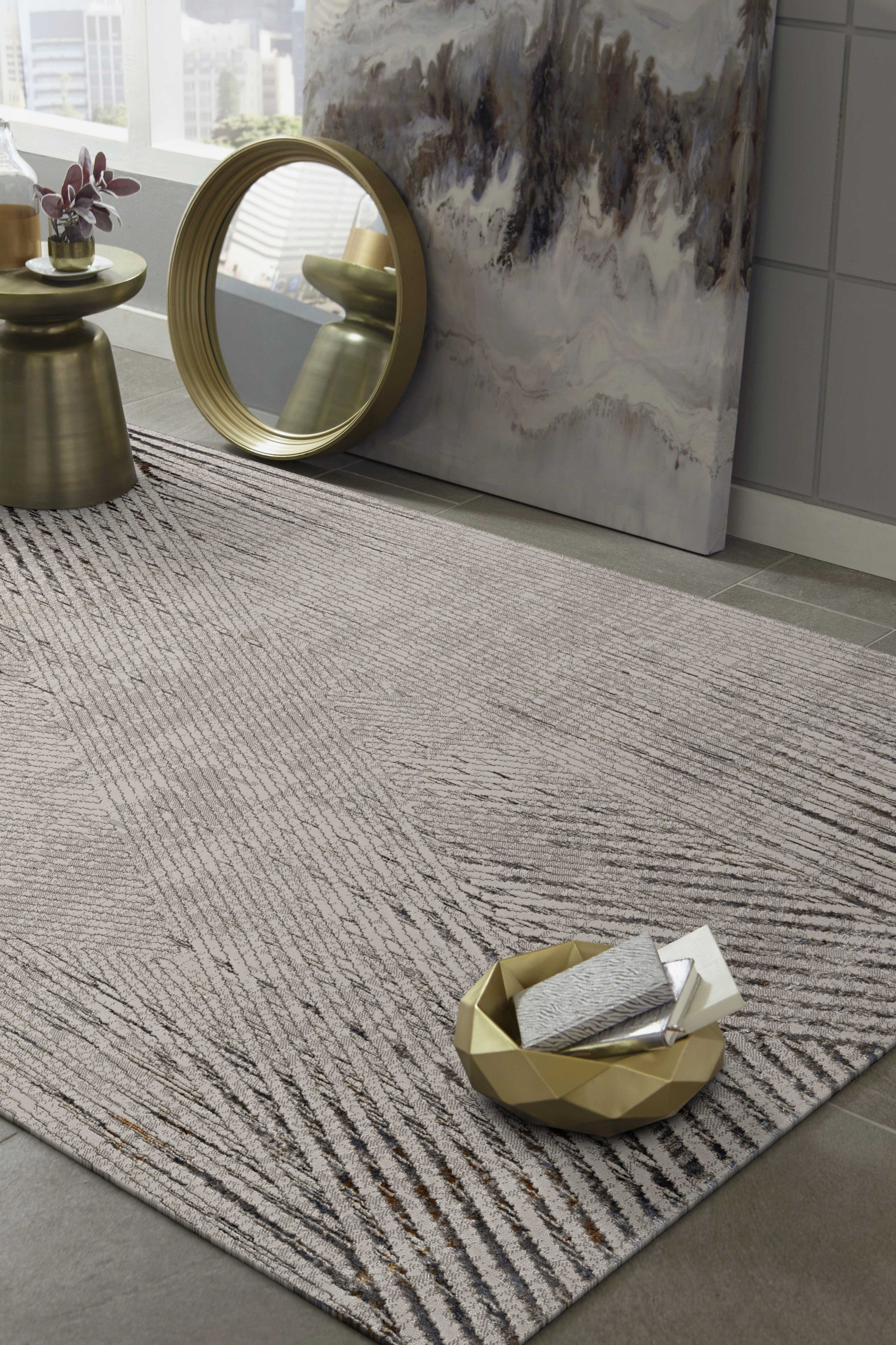 "79"" X 114"" Ivory or Grey Polyester Rug"