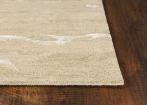 5' x 7' Beige Plain Wool Indoor Area Rug with Viscose Highlights