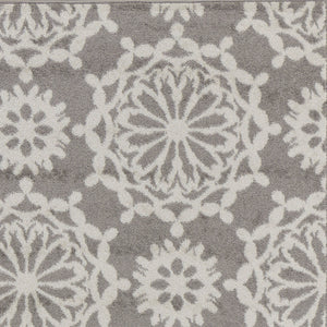 9' x 13' Grey or Ivory Floral Circular Patterns Indoor Area Rug