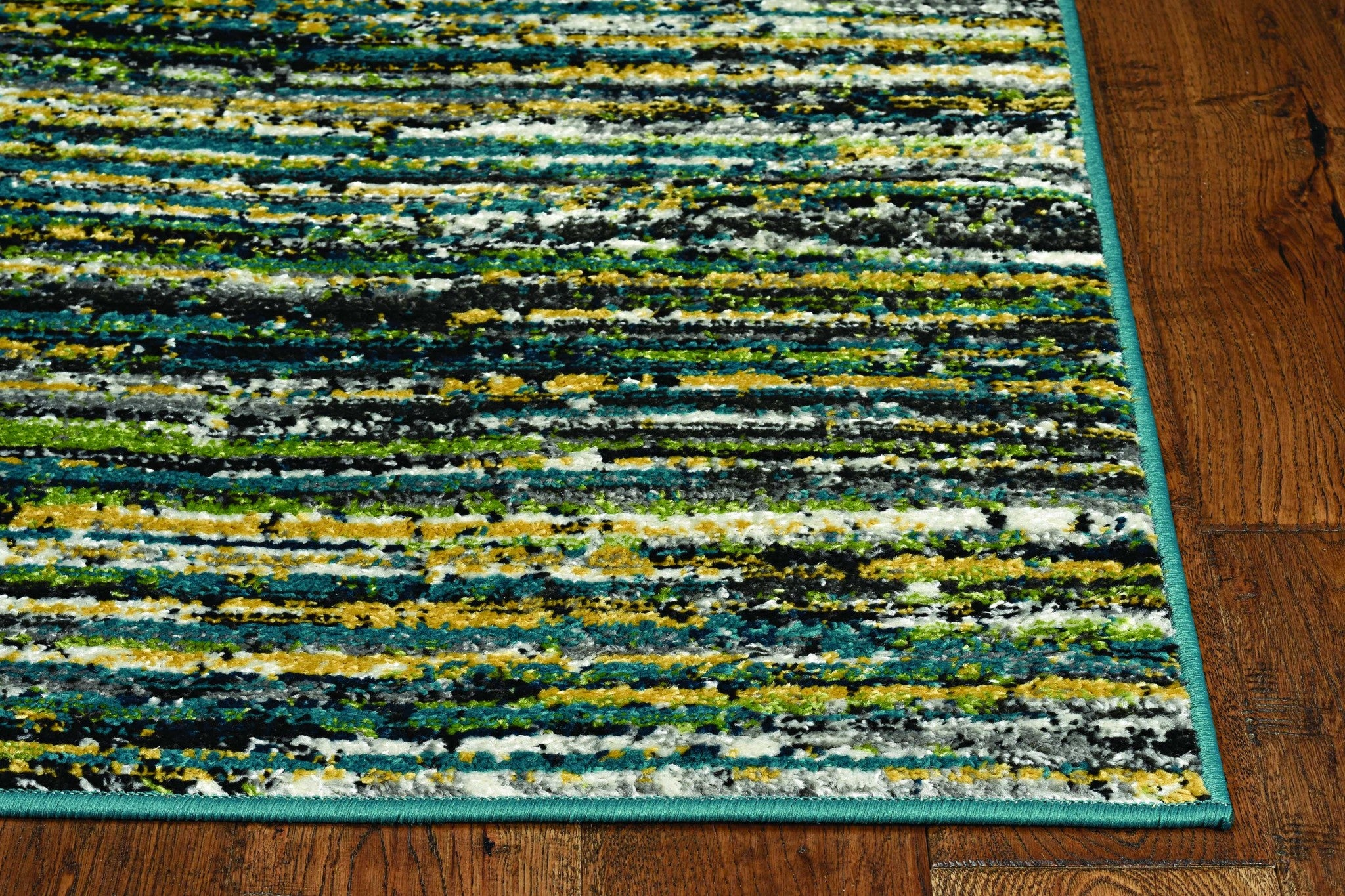 7' Grey Teal Machine Woven Solid Striation Indoor Runner Rug