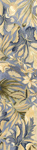 2' x 10' Blue Tropical Leaves Wool Indoor Runner Rug