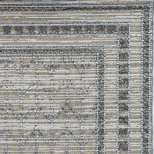 8'x10' Grey Machine Woven UV Treated Bordered Chevron Indoor Outdoor Area Rug