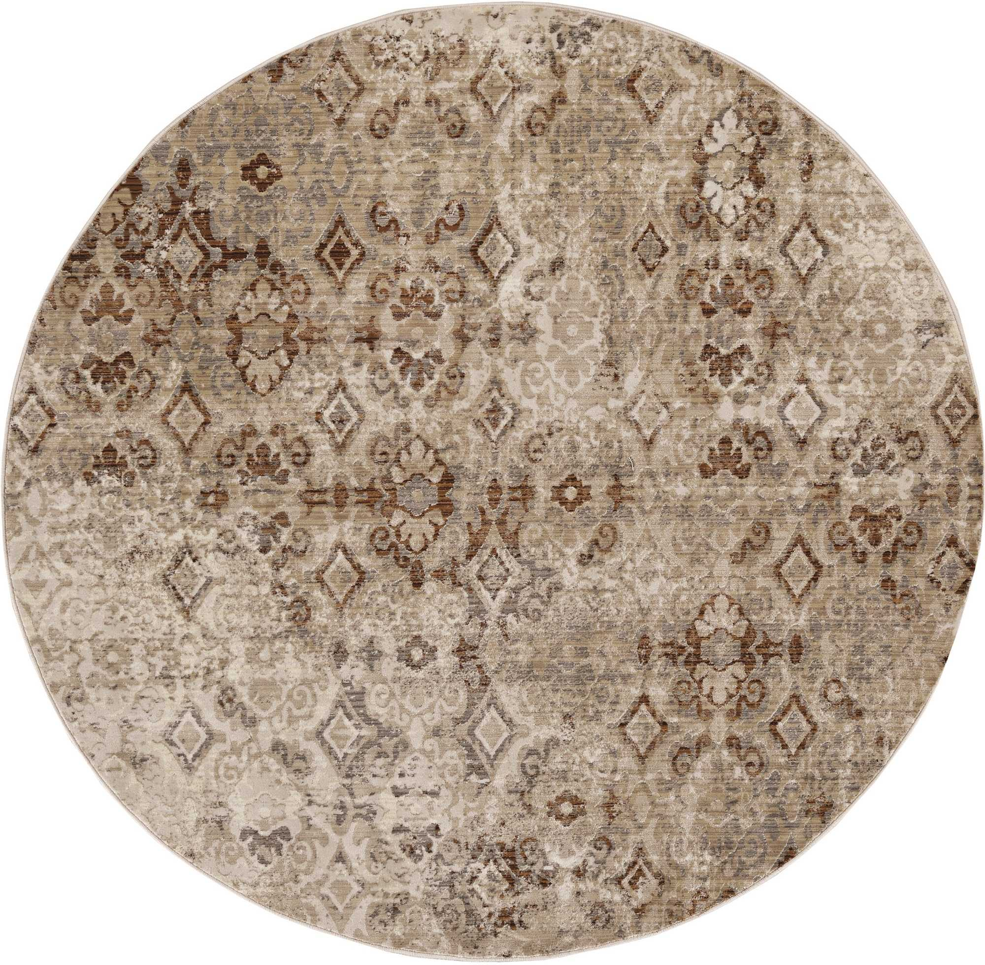 7' Sand Ivory Machine Woven Distressed Traditional Round Area Rug