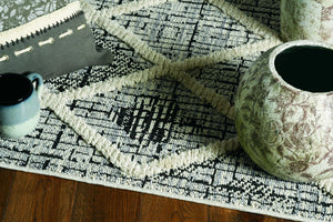 8' Charcoal Diamonds Polyester Runner Rug