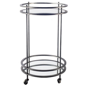 "18"" Pewter Metal With Two Mirror Glass Botton Shelves Bar Cart"