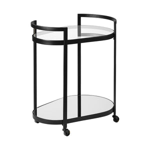 Cyclider Black Metal With Two Mirror Glass Shelves Bar Cart