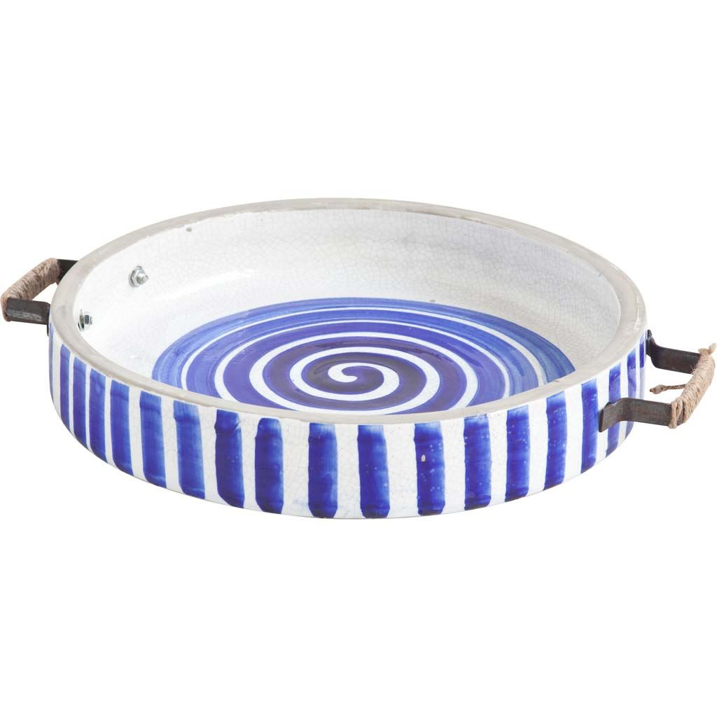 "13"" Blue And White Ceramic With Wood And Metal Handles Round Tray"