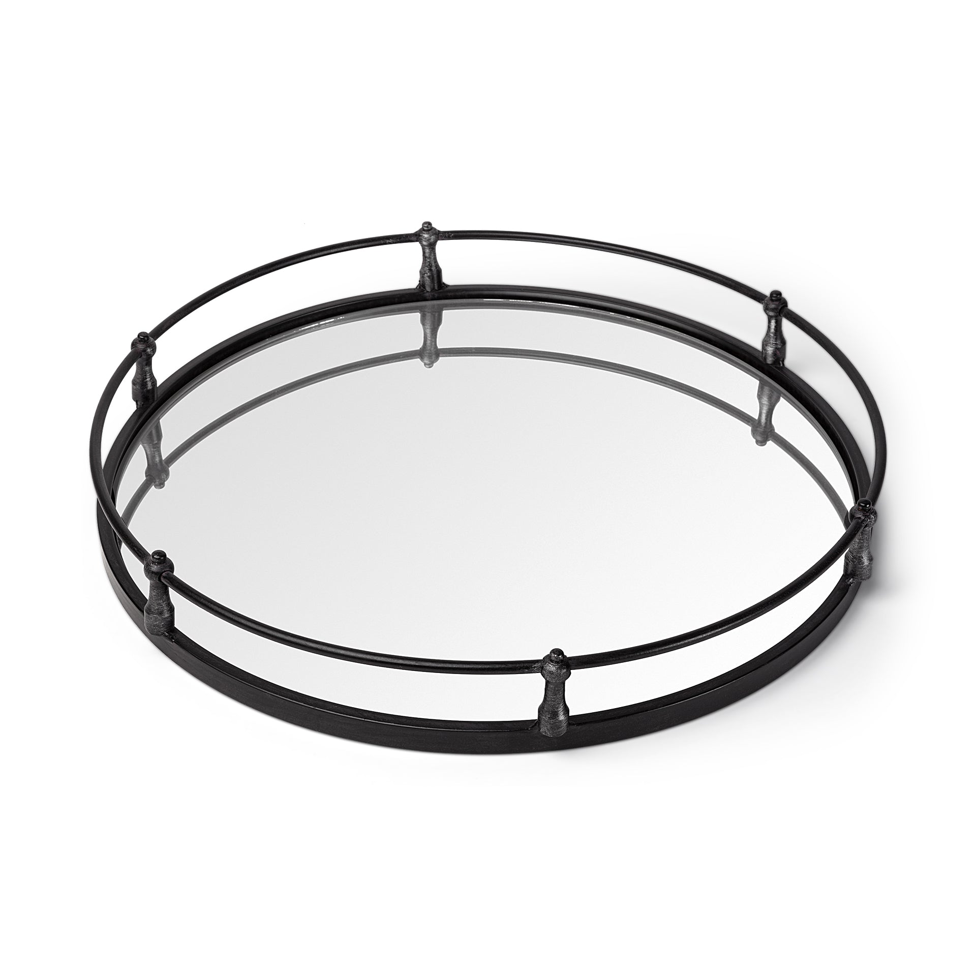 "24"" Natural Finish Metal With Mirrored Glass Bottom Round Tray"