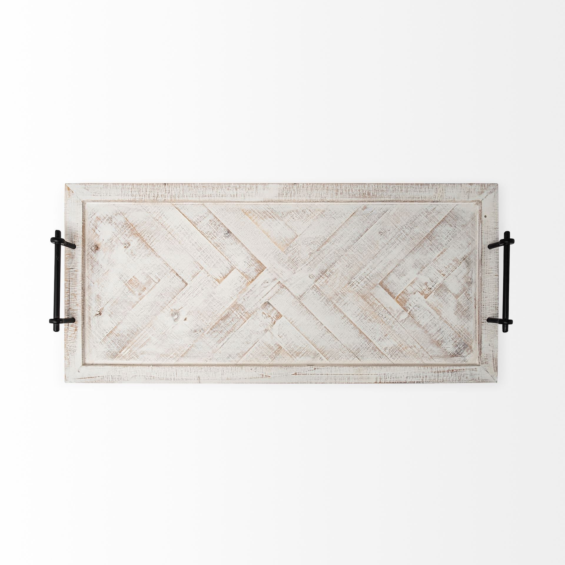 Whitewashed Tone Wood With Herringbone Pattern With Metal Raised Edges Tray