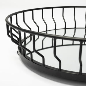 "20"" Matte Black Metal With Mirrored Glass Bottom Round Tray"