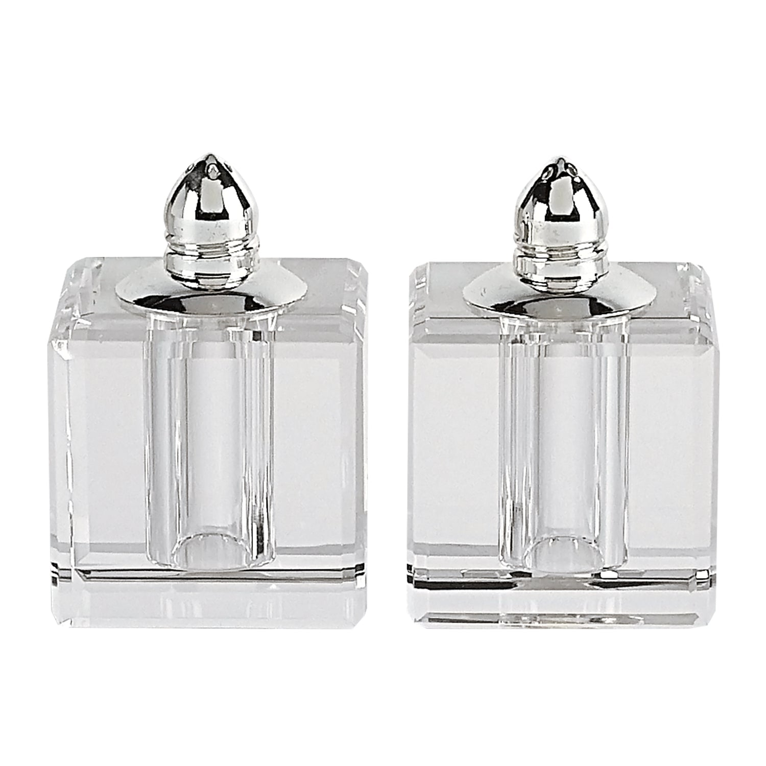 Handcrafted Optical Crystal and Silver Square Size Salt & Pepper Shakers