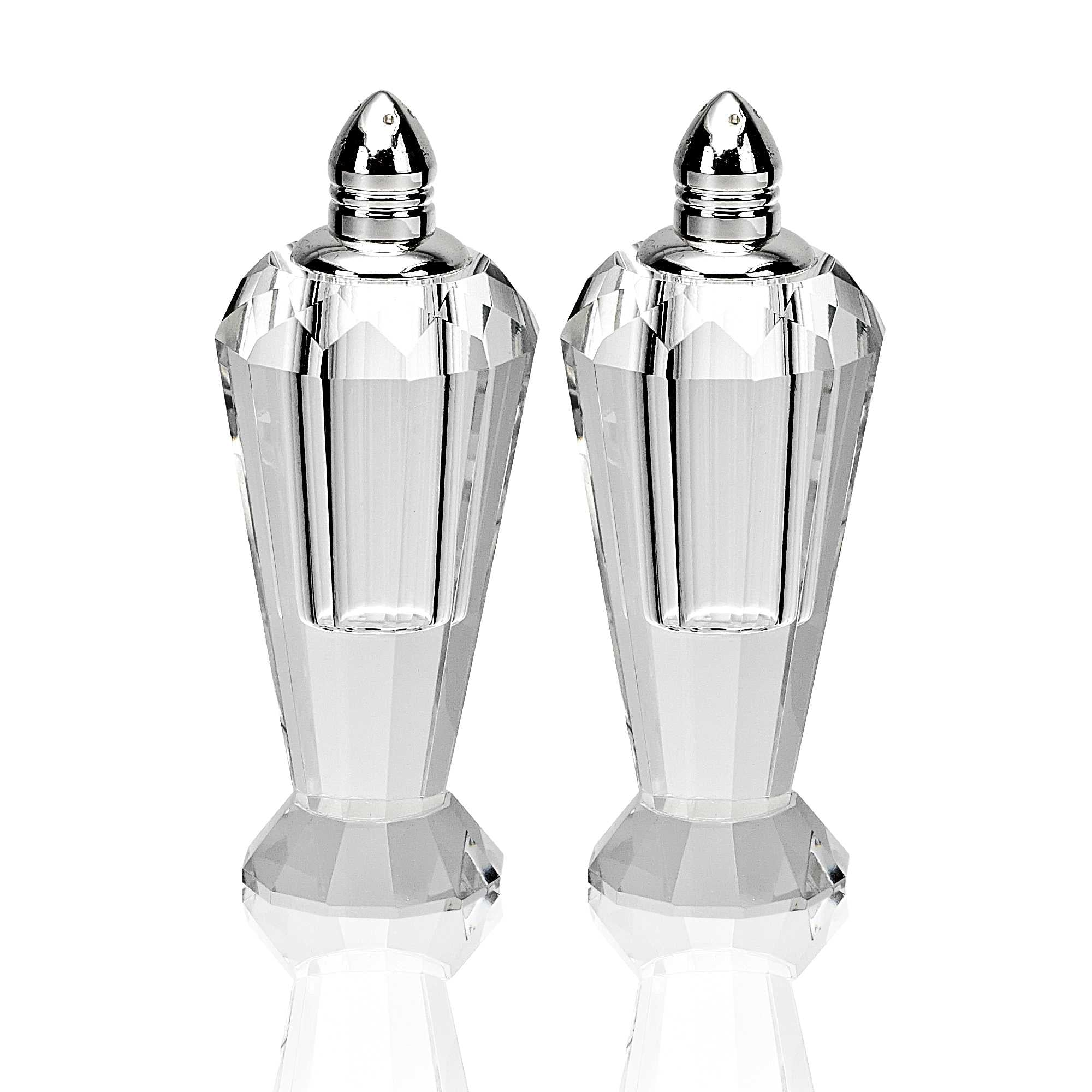Handcrafted Optical Crystal and Silver Pair of Salt & Pepper Shakers