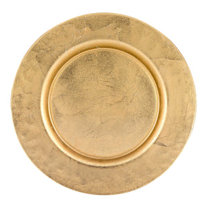 "13"" Hand Crafted Glass Charger with Gold Rim Finish"