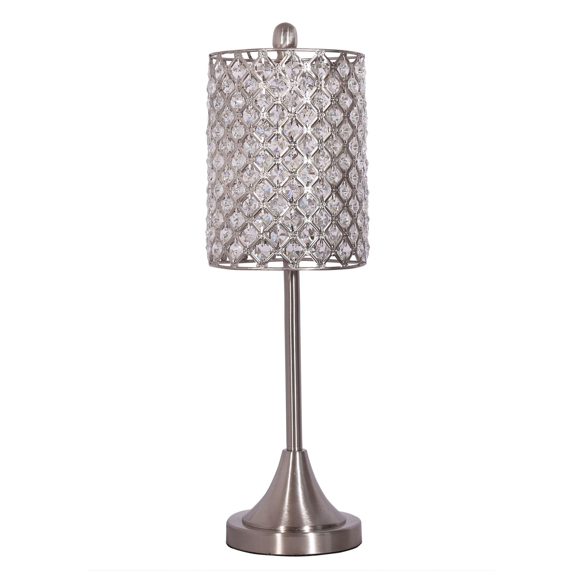 S/2 Metal Table Lamp w/ Crystal Bead Shade