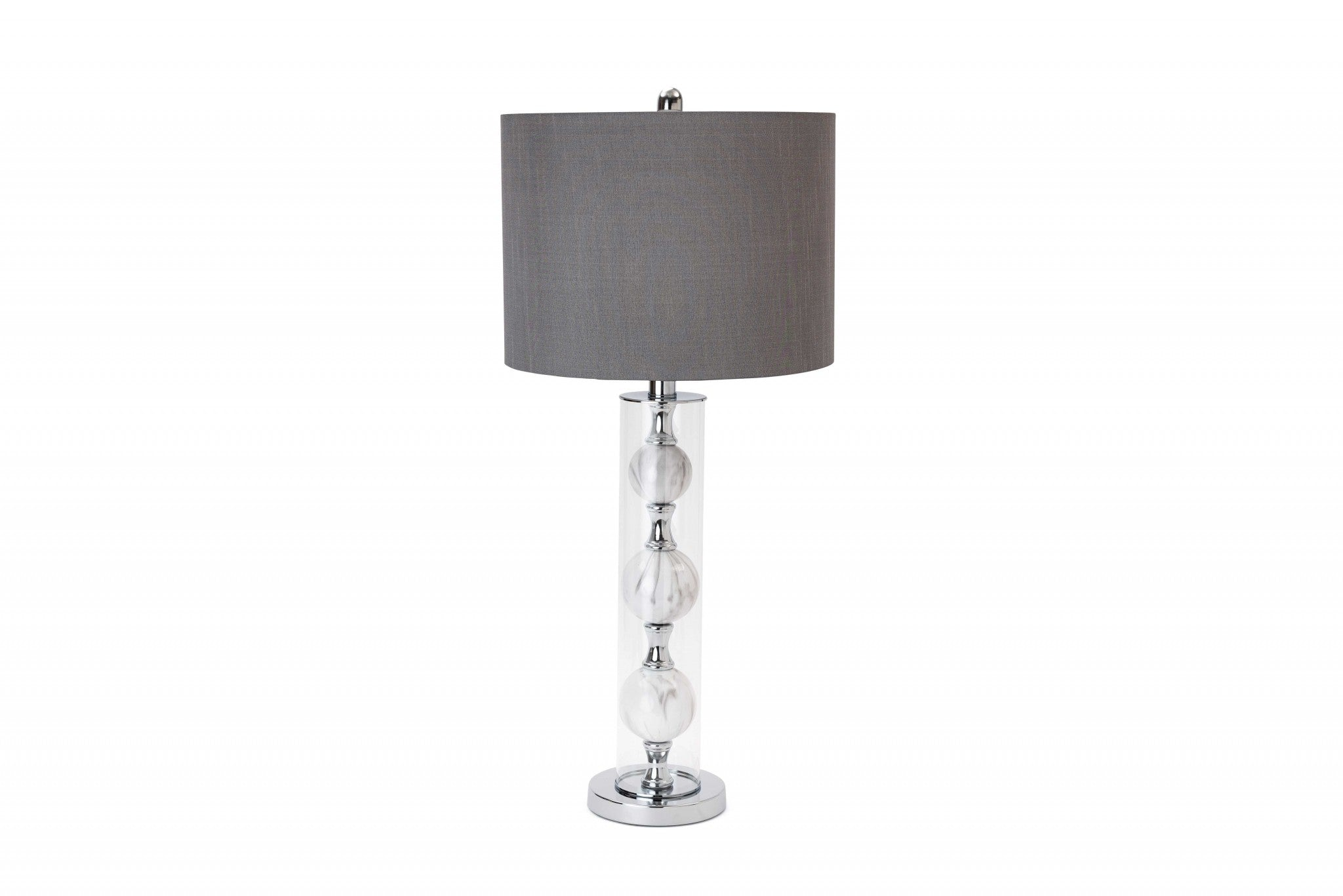 Set of 2 Metal 3-Ball Glass Table Lamp