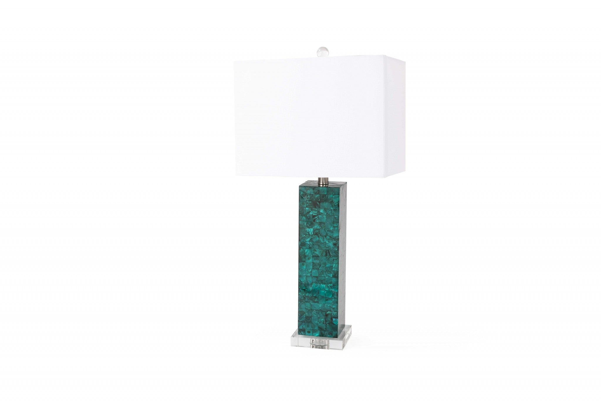 S/2 Green Mother of Pearl Coastal Table Lamp