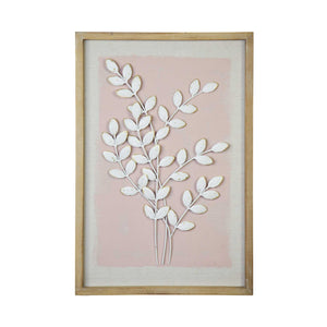 Pink Leaf Wall Art in Ivory Distressed Natural Wood