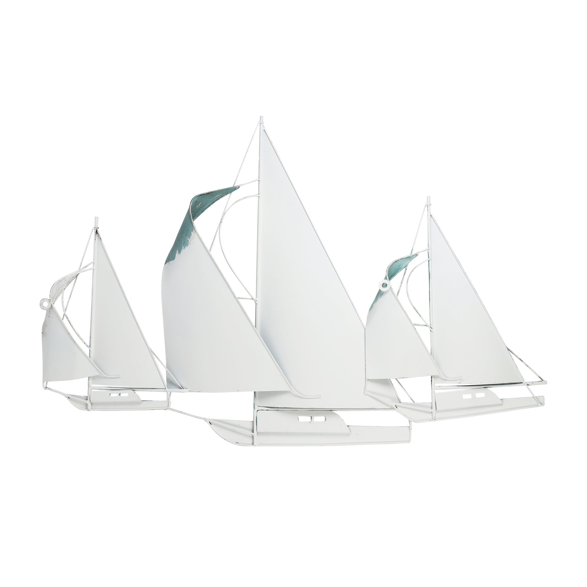 Sailboat Metal Centerpiece in Distressed Finish