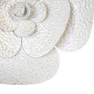 Floral Metal Wall Art with White and Beige Tones