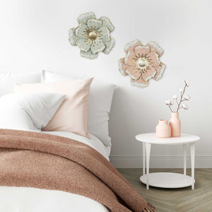 Flower Metal Wall Decor with Matte-Finished Petals