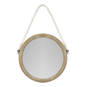 Round Wall Mirror with Ivory-washed Finish