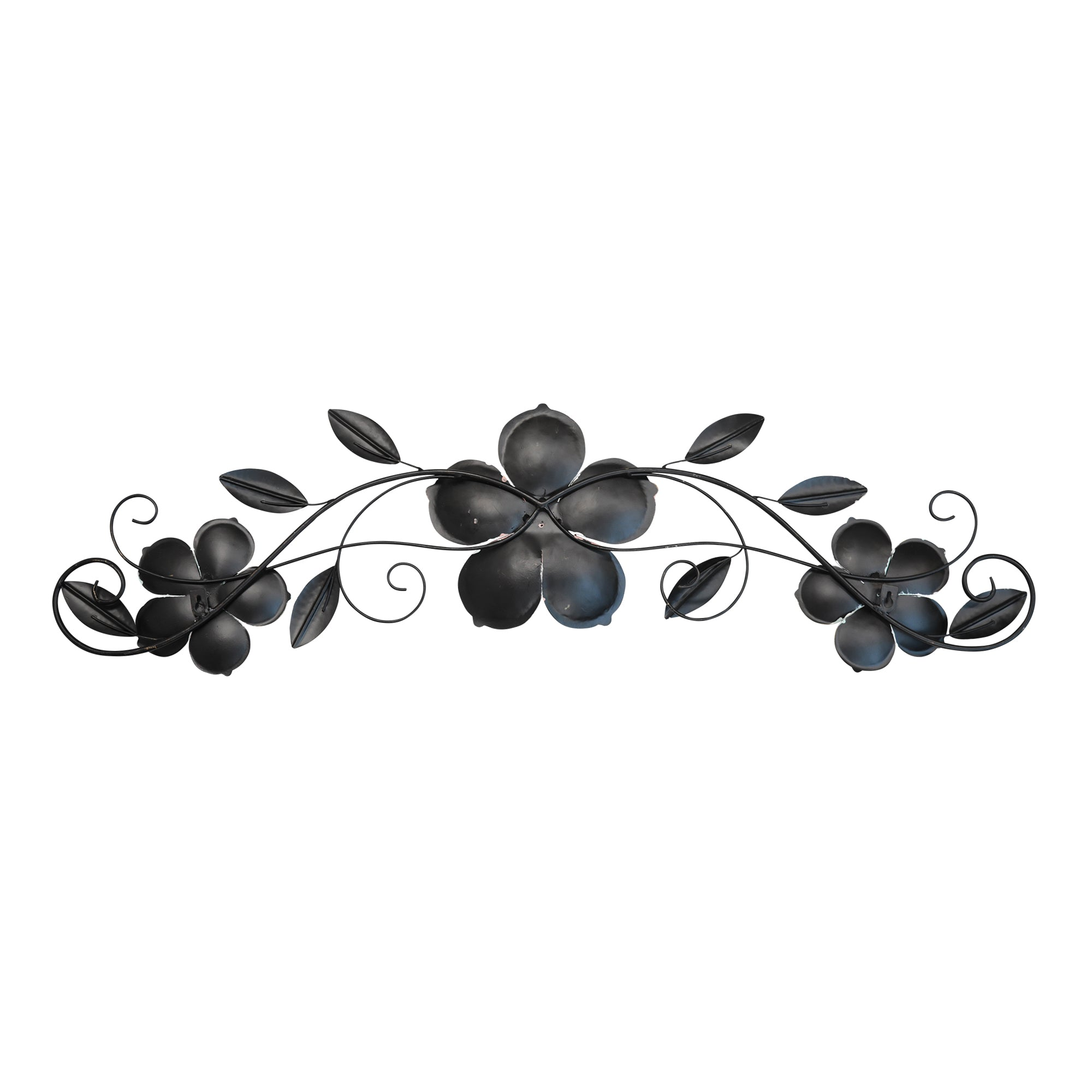 Flower Metal Wall Decor with Metallic Gold Edge Finish