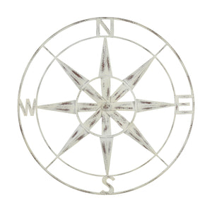Nautical Compass Metal Wall Decor with Distressed White Finish