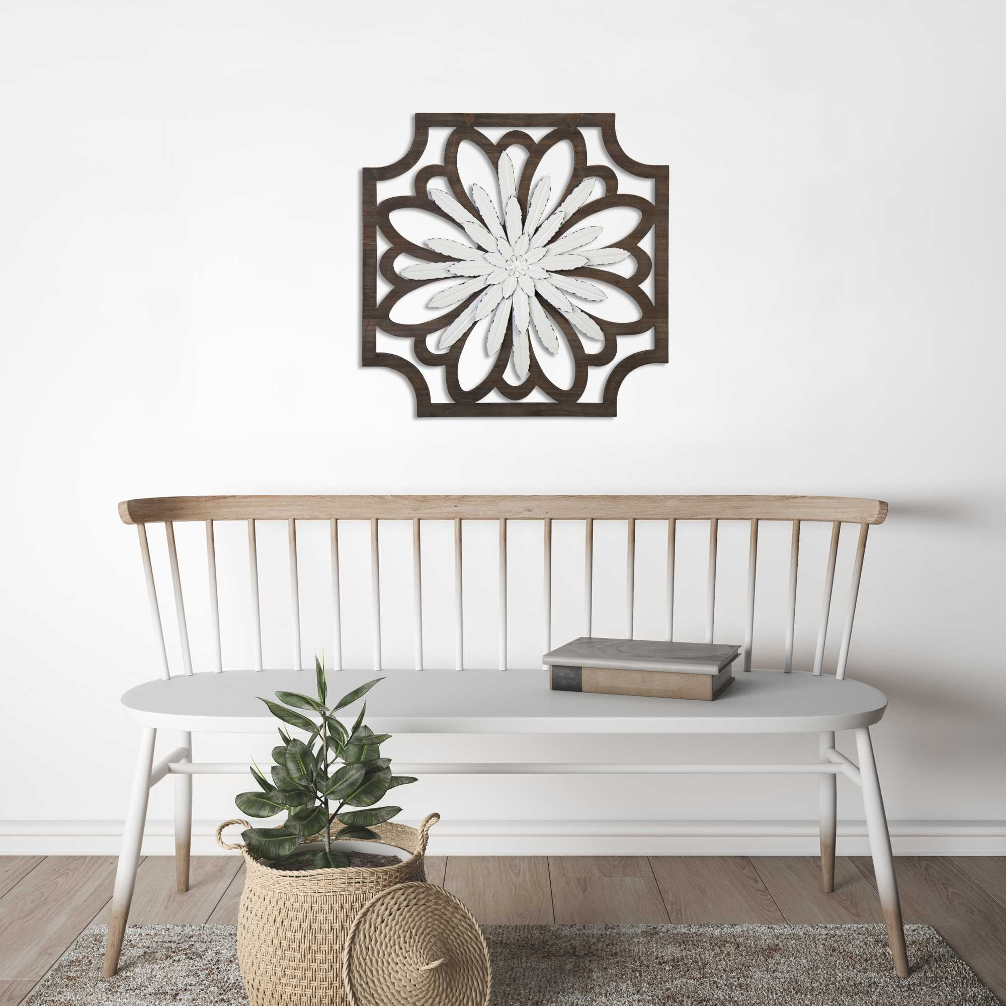 3D White Metal Flower and Walnut Framed Wall Art