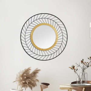 Round Wall Mirror with Metal Lines