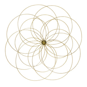 Metal Flower Wall Decor with Gold Foils Accent