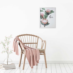 Pink Printed Flowers with Distressed White Frame