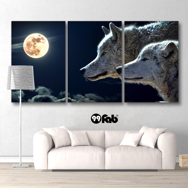 3 Panel Mysterious Wolves Moon Light Wall Art Canvas