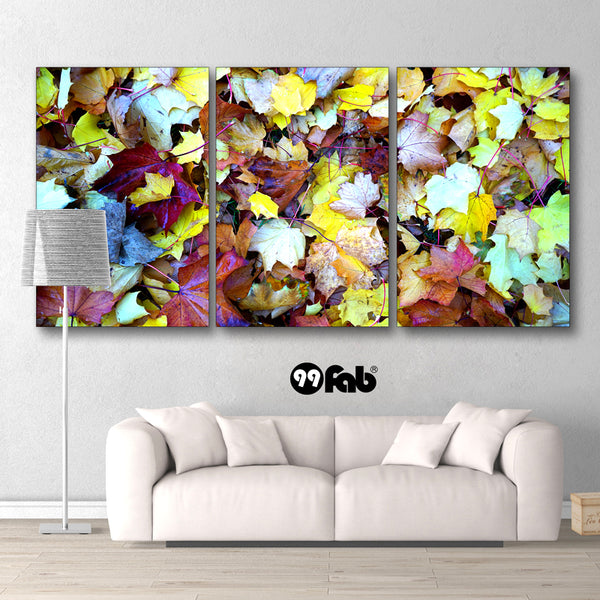 3 Panel Abstract Autumn Leaves Wall Art Canvas