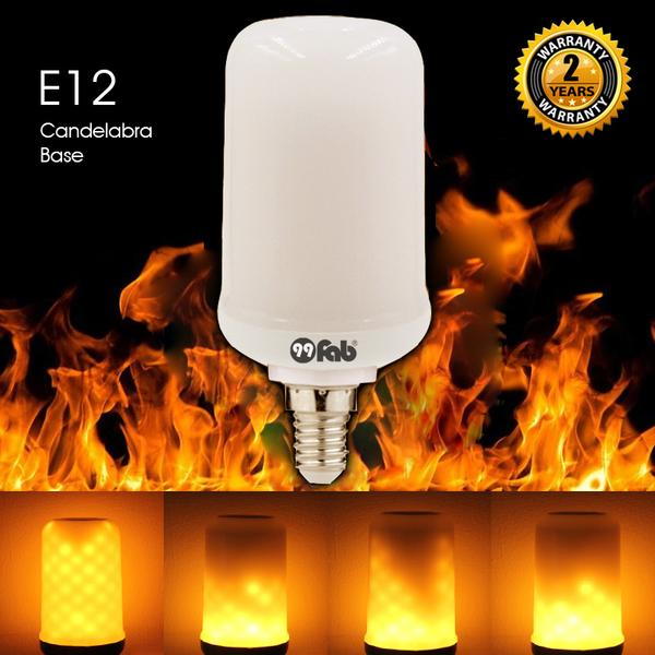 99FAB™ LED Flame Effect Flickering Fire Light Bulb with Gravity Sensor Candelabra Base E12