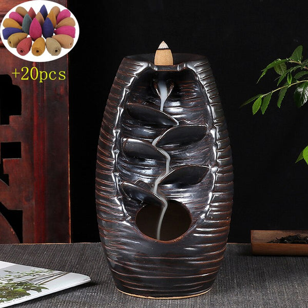 Ceramic Backflow Waterfall Smoke Incense Burner Censer Holder