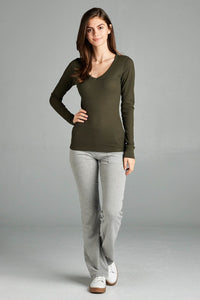 Long Sleeve V-neck Thermal Top