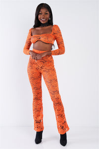 Sheer Floral Lace Crop Square Neck Top & High Waist Flare Pant Set