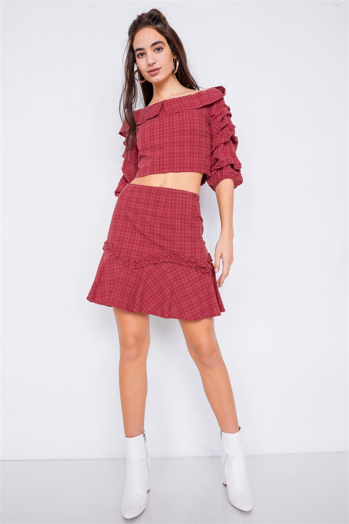 Raspberry Plaid Off-the Shoulder Retro Chic Crop Top & Mini Ruffle Skirt Set