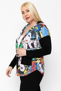 Comic Print, Lightweight Cardigan