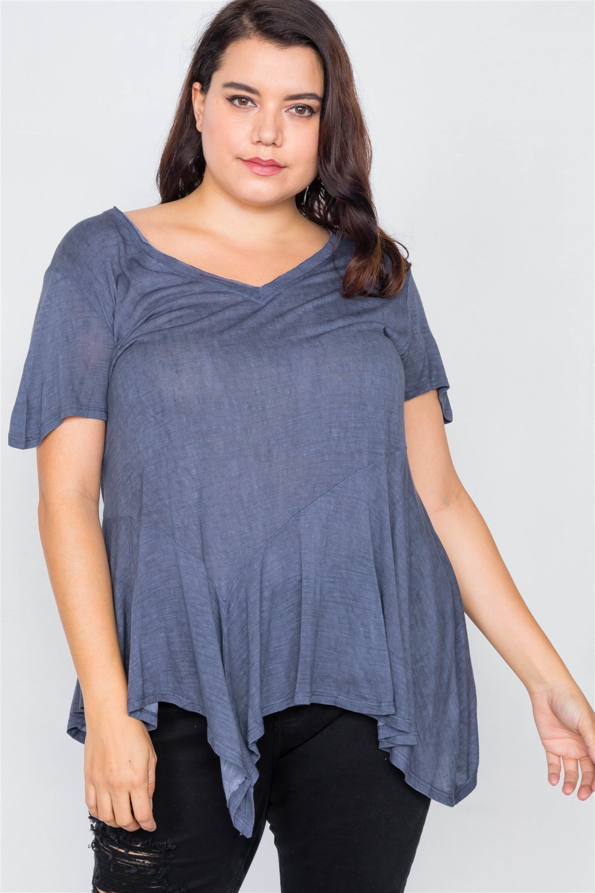 Plus Size Indigo High-low Relaxed Fit Raw Hem Top