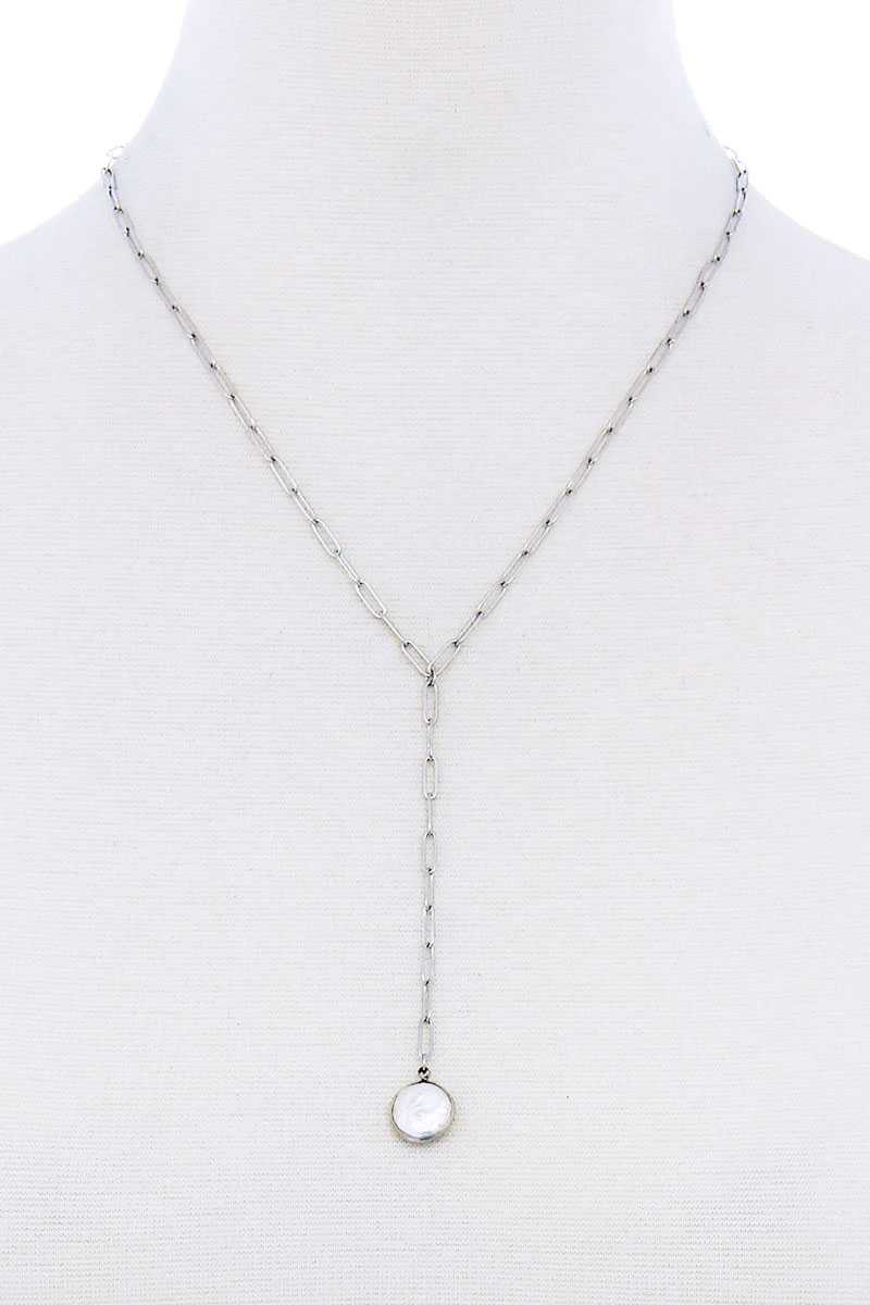Stylish Fresh Water Pearl Drop Clip Chain Y Necklace