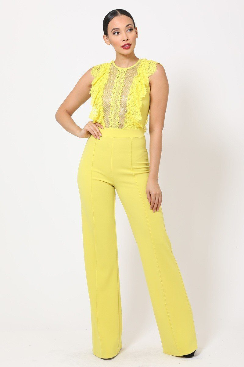 Sheer Mesh Sleeveless Jumpsuit