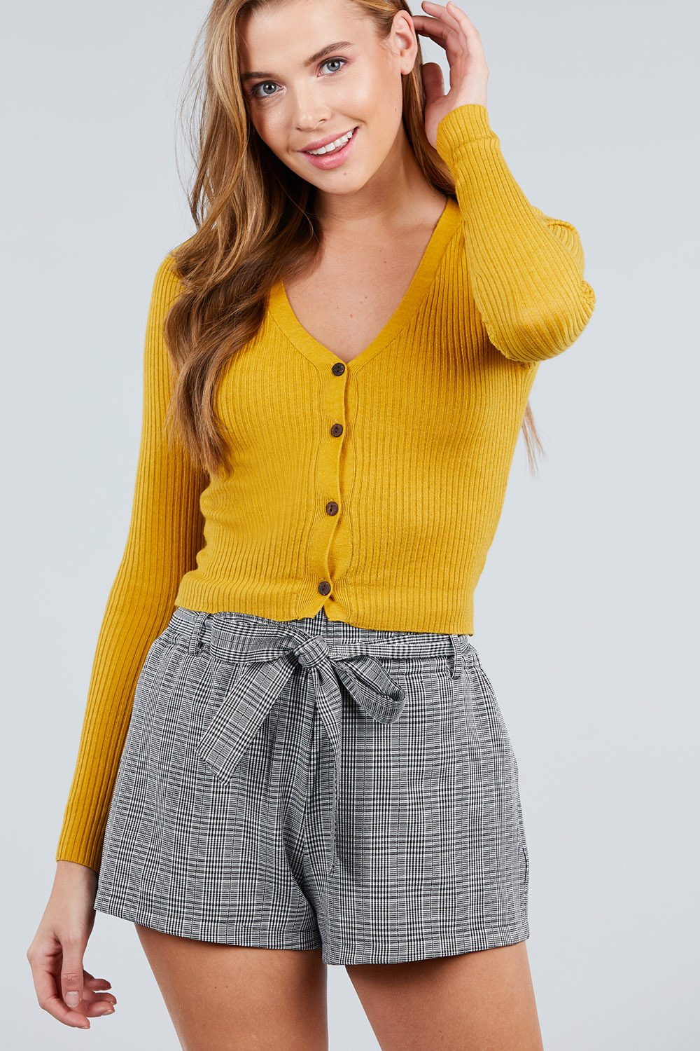 Long Sleeve V-neck W/button Down Crop Cardigan
