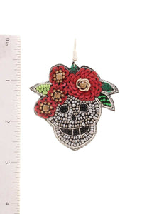 Day Of The Dead Seed Beaded Skull Flower Hook Earring