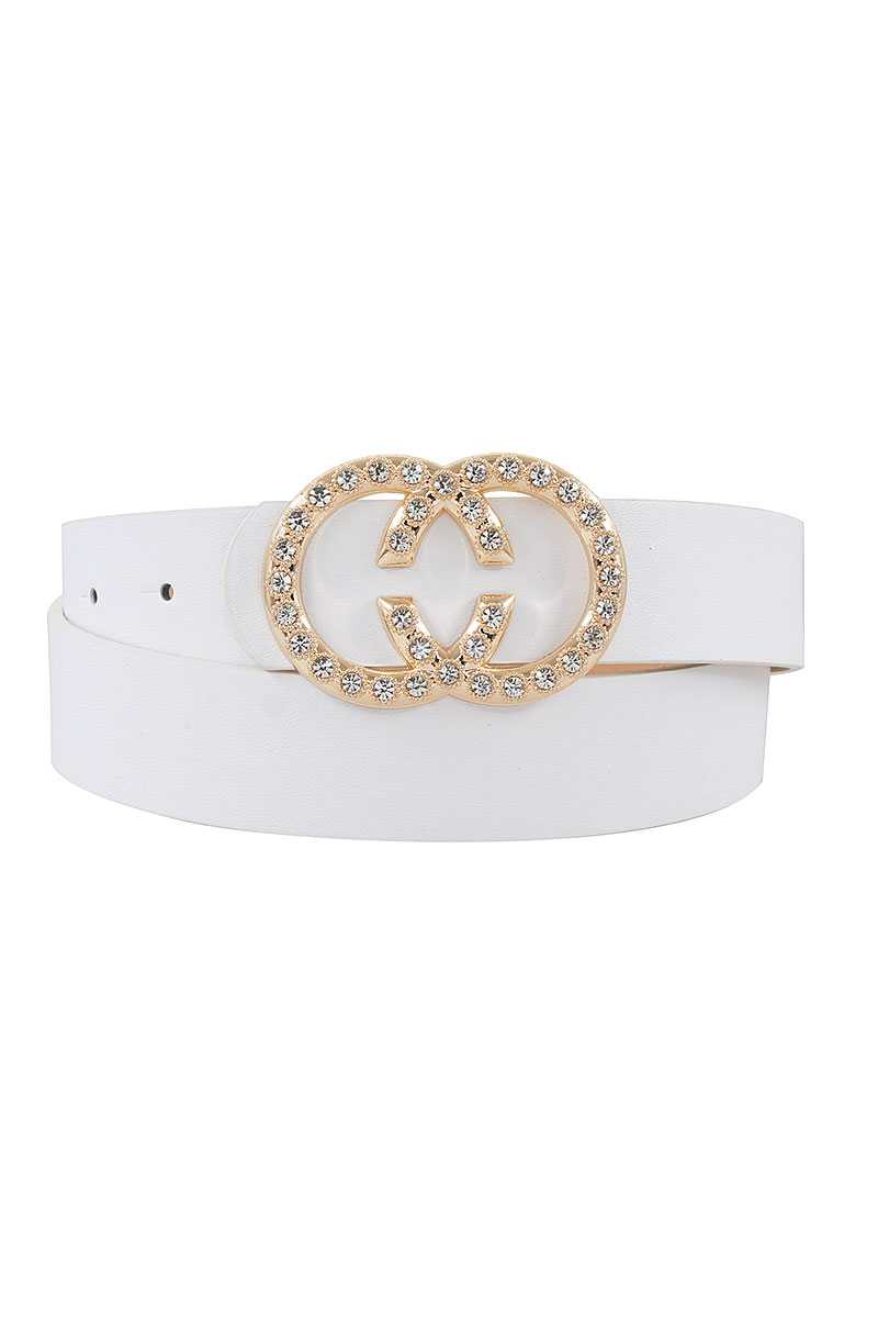 Trendy Rhinestone Double Ring Buckle Belt
