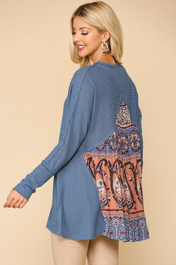 Waffle Knit And Woven Print Mixed Hi Low Flowy Tunic Top