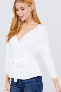 V-neck Wrapped Waist Band Sweater