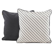 Set of 2 Black and Ivory Slanted Stripe Decorative Pillows