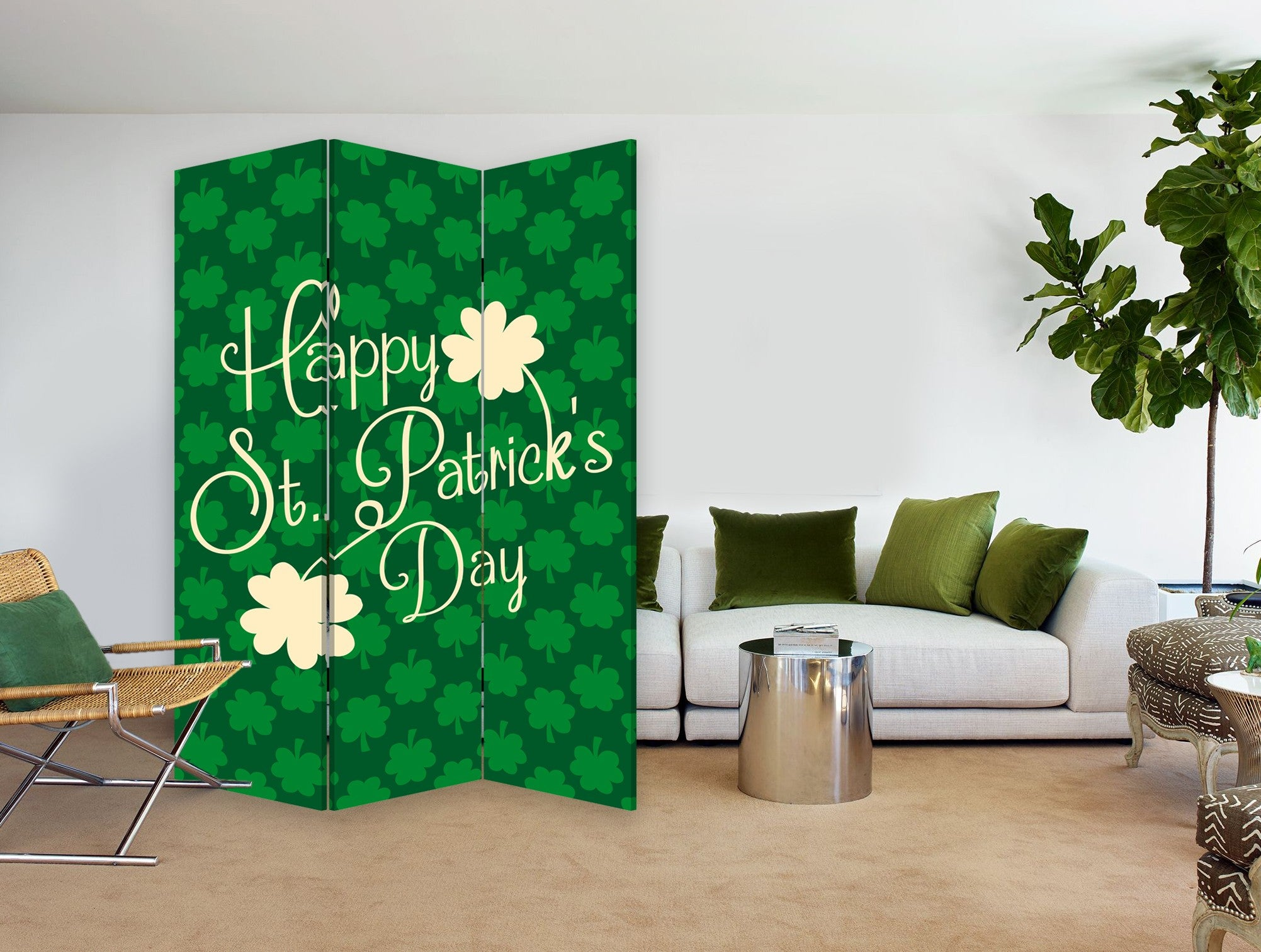3 Panel Reversible Irish Art Room Divider Screen