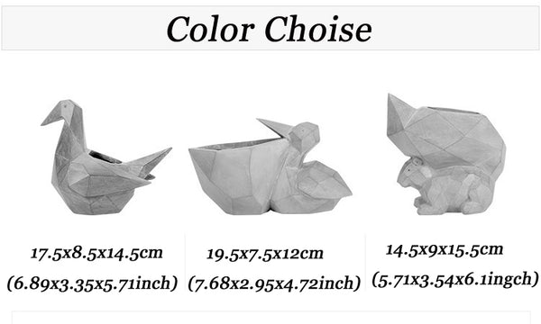 Mini Flowerpot Paper Cranes Shape Animal Bonsai Planter Pots